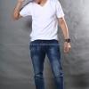 4XL เสื้อยืด สีขาว คอวี แขนสั้น Size 4XL