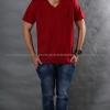4XL เสื้อยืด สีเลือดหมู คอวี แขนสั้น Size 4XL