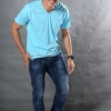 XL เสื้อยืด สีฟ้าอ่อน คอวี แขนสั้น Size XL