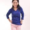 เสื้อยืด สีน้ำเงิน คอวี แขนยาว Size L สำเนา