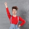 เสื้อยืด สีแดง คอกลม แขนยาว Size XL