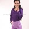 เสื้อยืด สีม่วงเข้ม คอวี แขนยาว Size L สำเนา