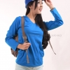 เสื้อยืด สีฟ้าทะเล คอวี แขนยาว Size XL