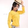 เสื้อยืด สีเหลือง คอวี แขนยาว Size XL