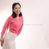 เสื้อยืด สีชมพู Sweety คอวี แขนยาว Size 4XL