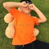 เสื้อยืดเด็ก สีส้ม คอกลม แขนสั้น Size L