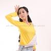 เสื้อยืด สีเหลือง คอวี แขนยาว Size L