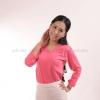 เสื้อยืด สีชมพู Sweety คอวี แขนยาว Size XL สำเนา