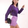 เสื้อยืด สีม่วงเข้ม คอวี แขนยาว Size S สำเนา