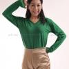 เสื้อยืด สีเขียวใบไม้ คอวี แขนยาว Size M สำเนา