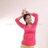 เสื้อยืด สีชมพู Pinky คอวี แขนยาว Size L