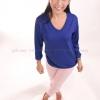 เสื้อยืด สีน้ำเงิน คอวี แขนยาว Size 3XL