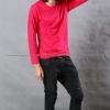 เสื้อยืด สีชมพูบานเย็น คอกลม แขนยาว Size 3XL