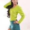 เสื้อยืด สีเขียวมะนาว คอวี แขนยาว Size 2XL