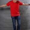 3XL เสื้อยืด สีแดง คอวี แขนสั้น Size 3XL