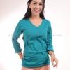 เสื้อยืด สีเขียวหยก คอวี แขนยาว Size XL สำเนา