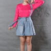 เสื้อยืด สีชมพู Pinky คอกลม แขนยาว Size XL