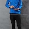 เสื้อยืด สีฟ้าทะเล คอกลม แขนยาว Size XL