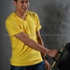 4XL เสื้อยืด สีเหลือง คอวี แขนสั้น Size 4XL