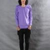 เสื้อยืด สีม่วงอ่อน คอกลม แขนยาว Size 2XL