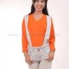 เสื้อยืด สีส้ม คอวี แขนยาว Size S สำเนา