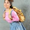 เสื้อยืด สีชมพูอ่อน คอกลม แขนยาว Size S