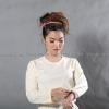 เสื้อยืด สีครีม คอกลม แขนยาว Size M