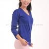 เสื้อยืด สีน้ำเงิน คอวี แขนยาว Size XL
