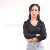เสื้อยืด สีดำ คอวี แขนยาว Size 2XL