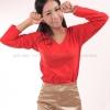 เสื้อยืด สีแดง คอวี แขนยาว Size 2XL สำเนา