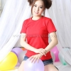 L เสื้อยืด สีแดง คอกลม แขนสั้น Size L