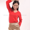 เสื้อยืด สีแดง คอวี แขนยาว Size XL