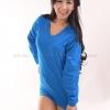 เสื้อยืด สีฟ้าทะเล คอวี แขนยาว Size 3XL