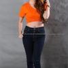 XL เสื้อยืด สีส้ม คอวี แขนสั้น Size XL