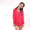เสื้อยืด สีชมพูบานเย็น คอวี แขนยาว Size M