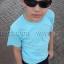 เสื้อยืดเด็ก สีฟ้าอ่อน คอกลม แขนสั้น Size M thumbnail 2