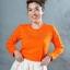 เสื้อยืด สีส้ม คอกลม แขนยาว Size XL thumbnail 3