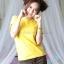 L เสื้อยืด สีเหลือง คอกลม แขนสั้น Size L thumbnail 2